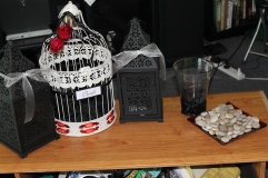 mini mock up of signing stones, cage and lighting for our welcome to party table